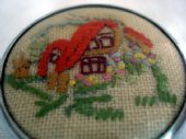 Little  Vintage Embroidered Cottage Brooch with Orange Roof (SOLD)